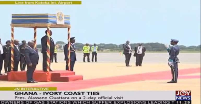 President Ouattara Arrives In Accra
