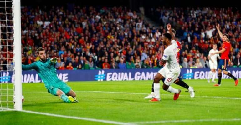 Raheem Sterling scores his second, and England's third, goal in front of a disbelieving crowd in Seville. Photograph: Eddie Keogh for The FA/Rex/Shutterstock