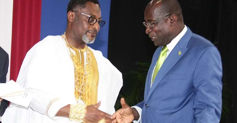 His Royal Majesty Drolor Bosso Adamtey I (left)