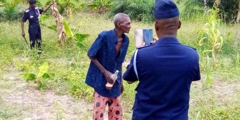 77-year-old suspect, Opanin Kwadwo Sampene on the farm after his arrest