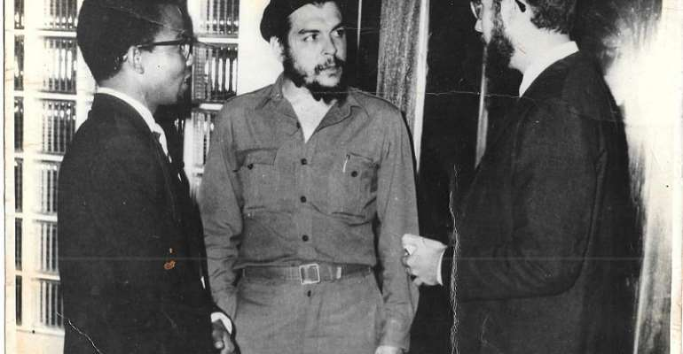 Fifi Hesse (left) Photographed In Accra With The World-renowned Revolutionary, Ernesto Che Guevara Of Cuba (centre) In 1965