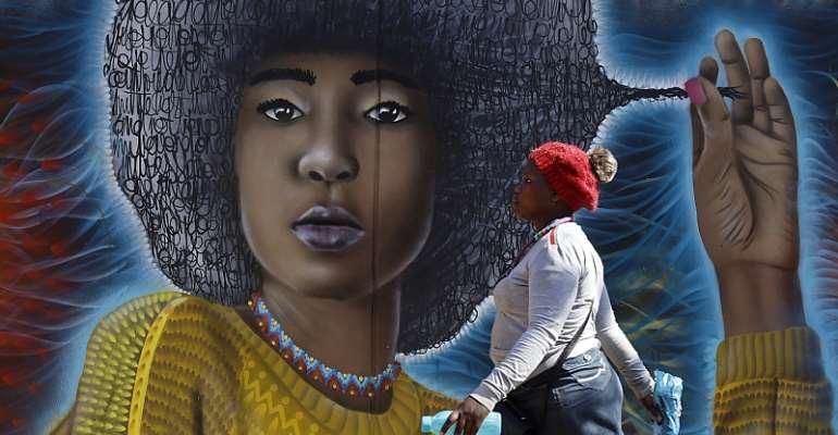 A mural in Maboneng, Johannesburg. - Source: Kim Ludbrook/EPA-EFE