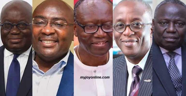 L-R: President Akufo-Addo, Dr. Bawumia, Ken Ofori Atta, Keli Gadzekpo, Esson Benjamin,