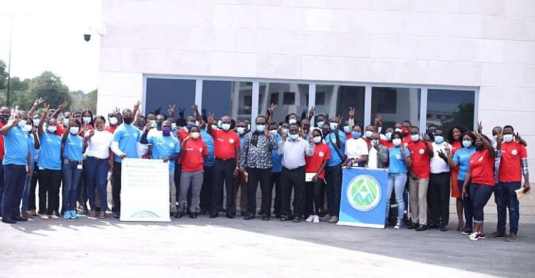 A group picture of Vivo Energy Ghana employees after the Safety Day Celebration