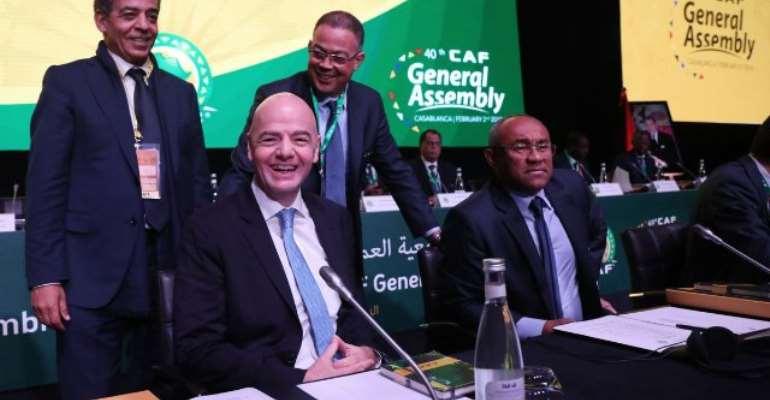 FIFA president Amaju Pinnick with Ahmad Ahmad