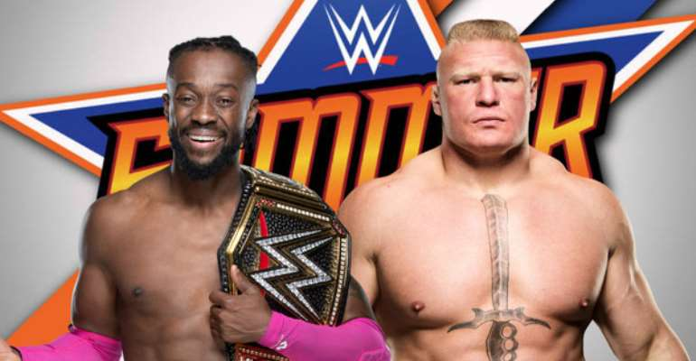 Kofi Kingston and Brock Lesnar, photo credit: WWE publicity