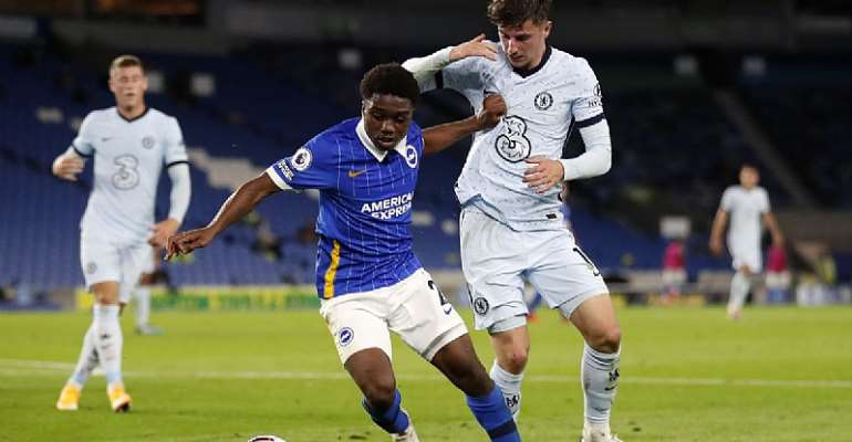 Tariq Lamptey [on the ball] in action for Brighton against Chelsea