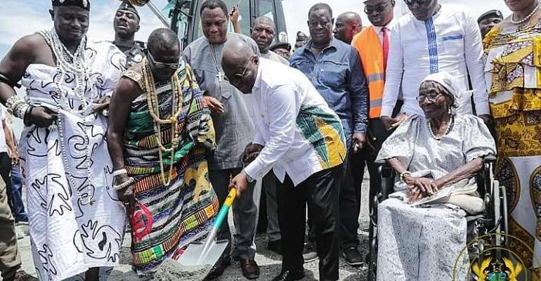 President Akufo-Addo cutting sod for commencement of the project.