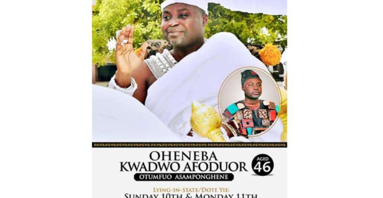 The burial poster of the late Asamponhene