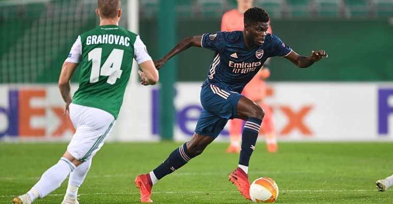 Thomas Partey in action against Rapid Vienna on Thursday night