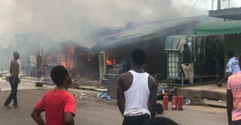 Fire Guts Container Shops At Odorkor