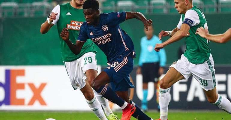 Thomas Partey in action for Arsenal against Rapid Vienna on Thursday night