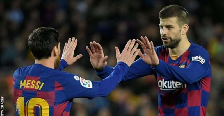 Messi and Pique have won many trophies together at Barca, including eight La Liga titles