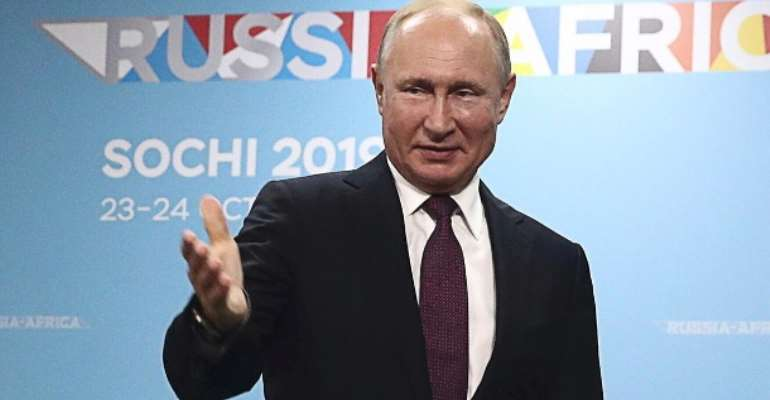 Russian President Vladimir Putin at the Africa Summit in Namibia