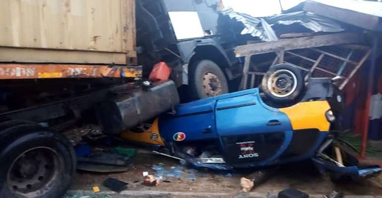 A/R: Trailer Runs Over Taxi At Bunso Junction