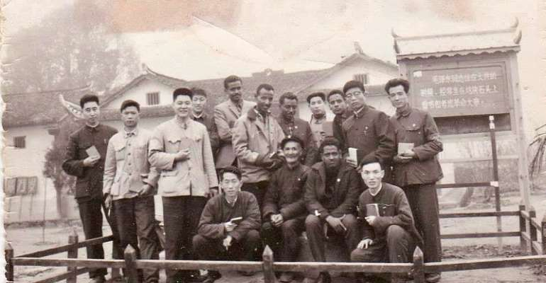 Eritrean president Isaias Afwerki in China in the 1960s. He is fifth from the left, rear row. - Source: