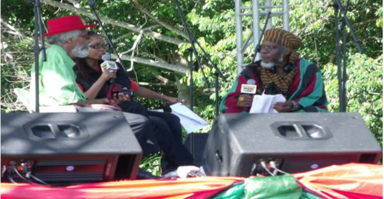 """Fr.Left """"Bongo Jerry"""" Small, Andrea """"Kabu"""" Williams & """"Mutabaruka"""" at IRIE FM's annual tribute to Marcus Mosiah Garvey, Ocho Rios, Jamaica, 2015…are these the 'three' of Isa.Ch.57?"""