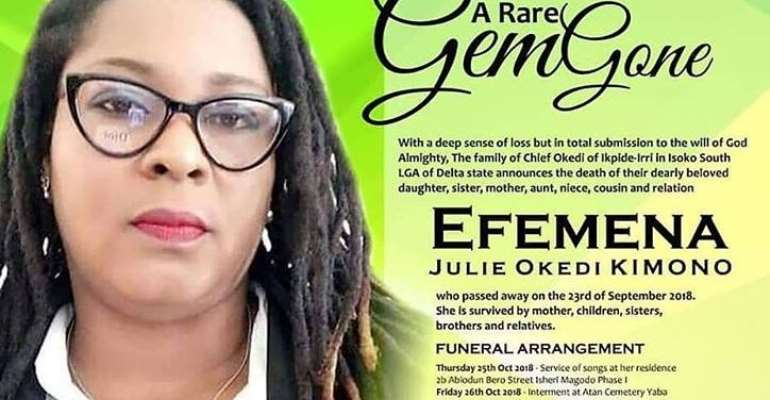 Photos of service of songs Held for Late Efe Okedi Kimono