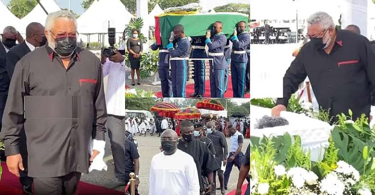 JJ Rawlings placing a rose flower on the mum's remains