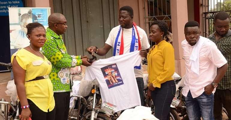 Nana Ampem Darko Donates Motorbikes, T-Shirts To Western North NPP