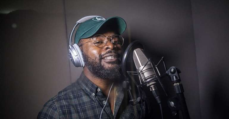 Nigerian rapper Falz sings in his home studio in Lagos. - Source: Florian PlauCheur/AFP/Getty Images