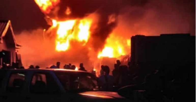[Photos] How Fire Burnt 15 Gas Tankers To Ashes At Kpone