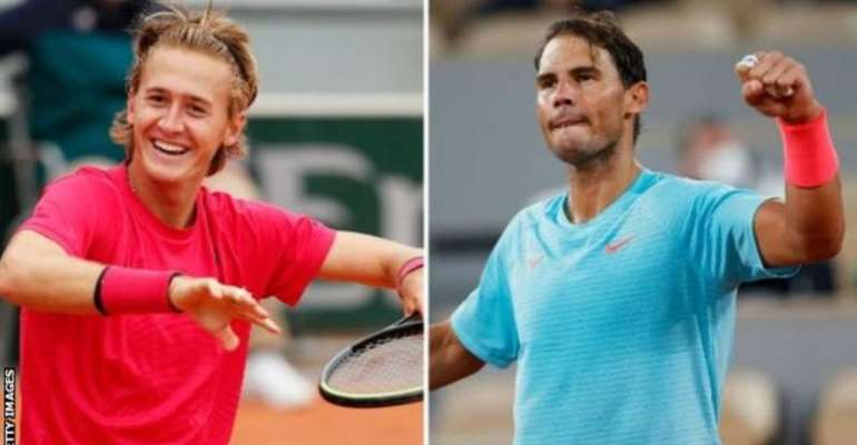 Korda (left) said he would watch tapes of Nadal's matches when he was a kid