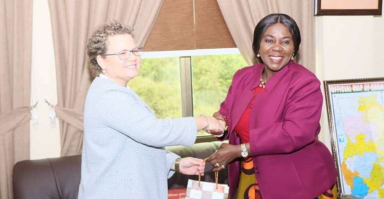 Her Excellency Shani Cooper exchanging pleasantries with Hon. Cecilia Dapaah