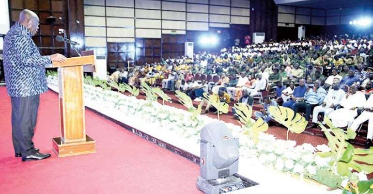 President Akufo-Addo delivering a speech at the launch of Cocoa Forest REDD programme in Accra yesterday