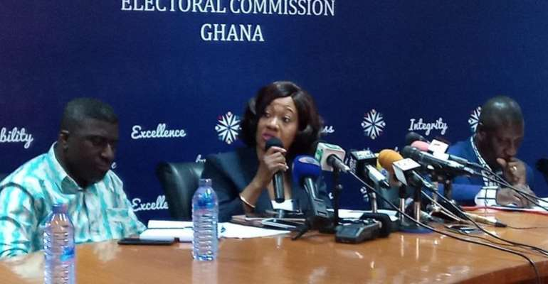 Electoral Commission chair Mrs, Jean Mensah addressing a press conference