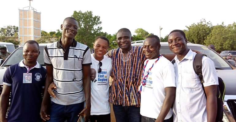 Kamal Deen with some youth in northern Ghana