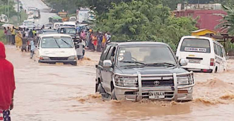 One of the flooded areas in Kumasi yesterday