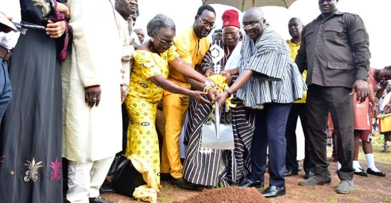 Mr. Selorm Adadevoh and Mrs. Nabilla Williams assisting H.E Dr. Mahamudu Bawumia during the sod cutting ceremony
