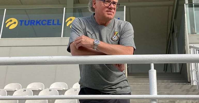 Bernhard Lippert watches on as the Black Stars train this evening
