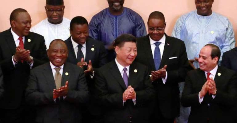 Helpless African leaders happily clapping with Xi Jinping