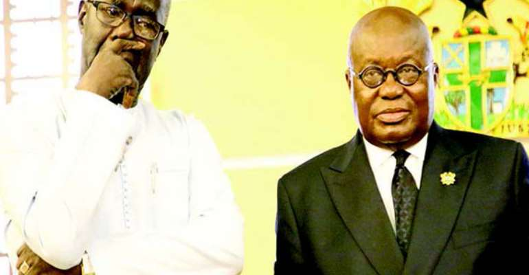 President Akufo-Addo with a despondent Arafan Kabine Kaba (left), the outgoing ambassador. Picture by Gifty Ama Lawson.