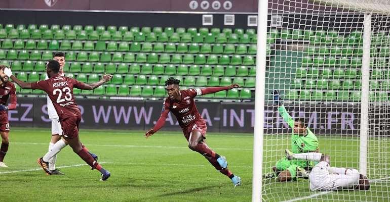John Boye celebrates after scoring for FC Metz against Nice. Photo Credit/FC Metz