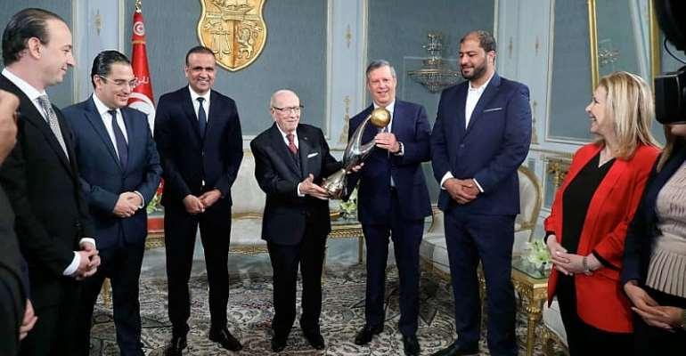 Tunisia President HE Beji Caib Essebsi Receives Esperance Team After Champions League Triumphant