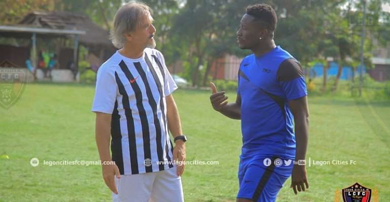 Asamoah Gyan with Legon Cities coach, Goran Barjaktarevic