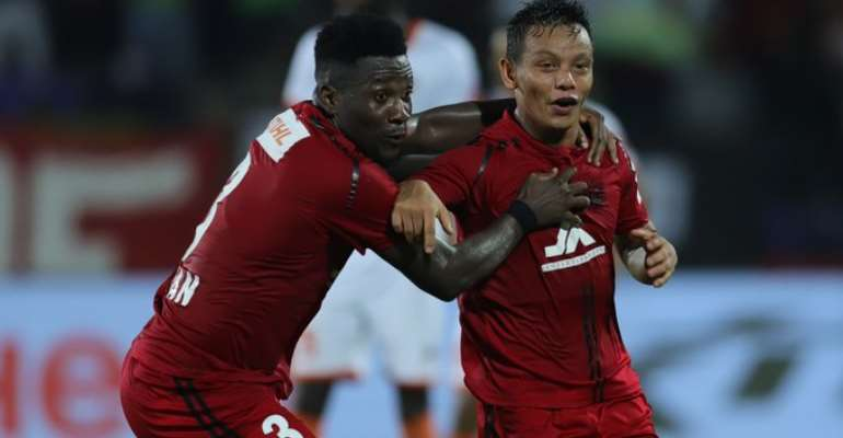 Asamoah Gyan Scores Second Goal Of The Season For NorthEast United