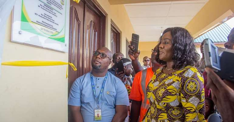 Prestea Huni-valley MP, MCE Commissions Two Classroom Blocks At Yareyeya And Awodua