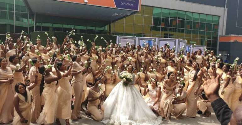 Linda Ikeji's Sister Breaks World Record With Over 200 Bridesmaids