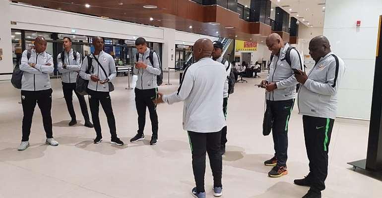 2021 AFCON Qualifier: Bafana Bafana Arrive In Ghana Ahead Of Black Stars Match [PHOTOS]