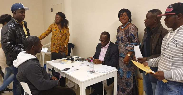 The ambassador (3rd right) interacting with some Ghanaian residents in Italy