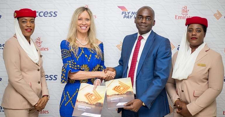 Catherine Wesley, Emirates Country Manager With Olumide Olatunji, MD Of Access Bank Ghana Flanked By Emirates Customer Service Personnel