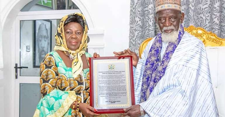 Sanitation and Water Resources Minister Hon. Cecilia Dapaah (Left) with National Chief Imam Dr. Sheik Osmanu Nuhu Shaributu (Right)