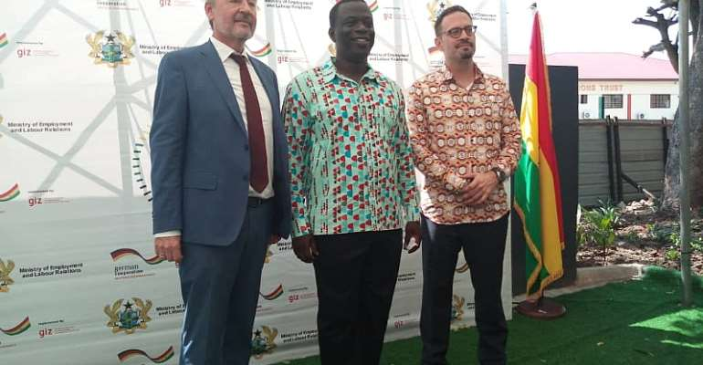 German Ambassador to Ghana, Christoph Retzlaff (Left), Minister for Employment and Labour Relations, Hon. Ignatius Baffour Awuah (Middle), Head of Center for GCC, Benjamin Woesten (Right).