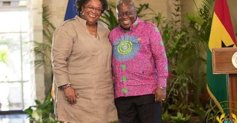 President Nana Akufo-Addo (right) with Prime Minister of Barbados, Mia Amor Mottley