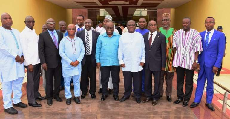 The Ghanaian President, Akufo Addo, the Vice-President, Mahamudu Bawumia and Regional Ministers, photo credit: Ghana media