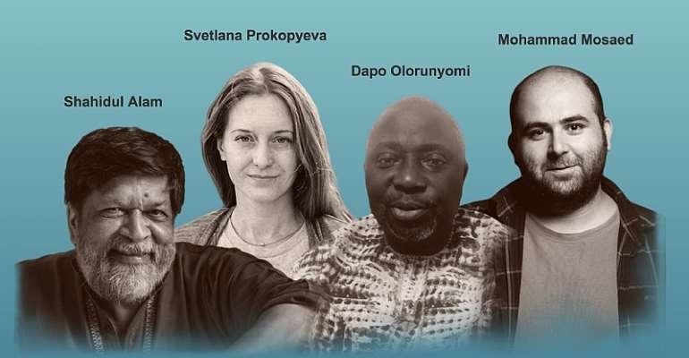 From left: Shahidul Alam (Rahnuma Ahmed); Svetlana Prokopyeva (Artiom Avanesov); Dapo Olorunyomi (Dapo Olorunyomi); Mohammad Mosaed (Farid Kamran Nia) Journalists from Bangladesh, Iran, Nigeria, and Russia honored